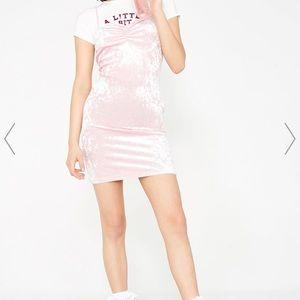Dolls Kill Motel pink velvet dress